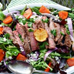 Lemon Grilled Flank Steak Salad with Persimmons