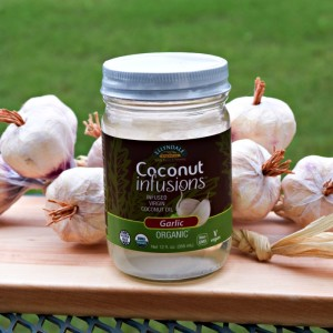 Garlic Coconut Oil -- perfect for stirfry, sauteeing and even drizzled on popcorn!