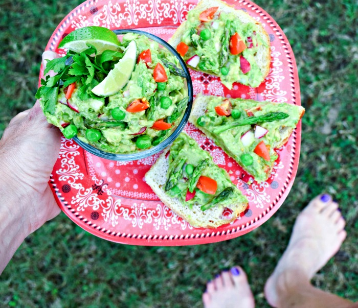 Skinny Garden Guacamole makes a light and nourishing lunch served on whole grain toast.