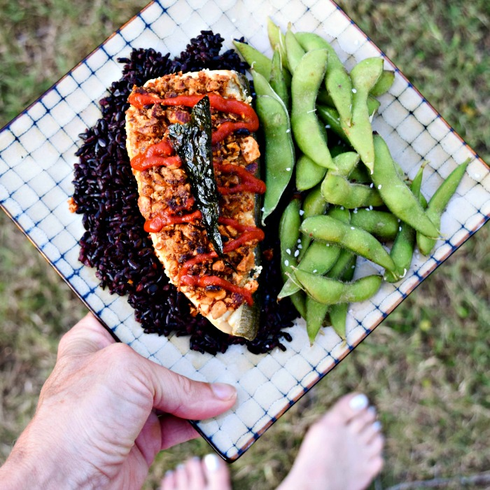 Sriracha Almond Halibut with Roasted Seaweed