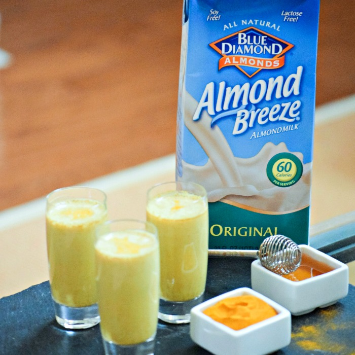 Almond Breeze Almondmilk makes a healing beverage with honey and turmeric stirred in!