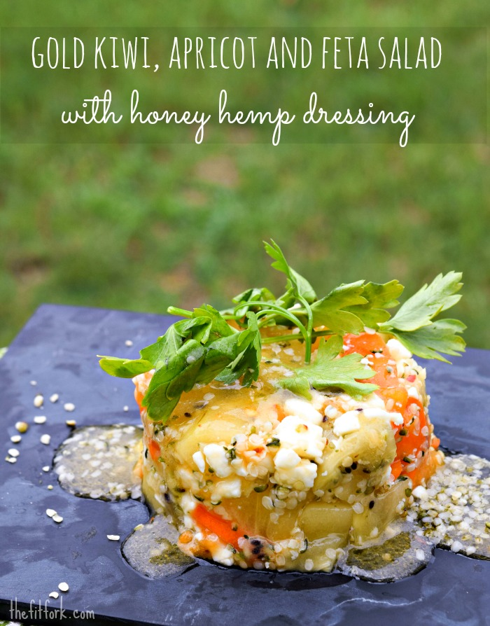 Gold Kiwi Apricot & Feta Salad with Honey Hemp Dressing is an easy, elegant and amazingly nutritious addition to your dinner party.