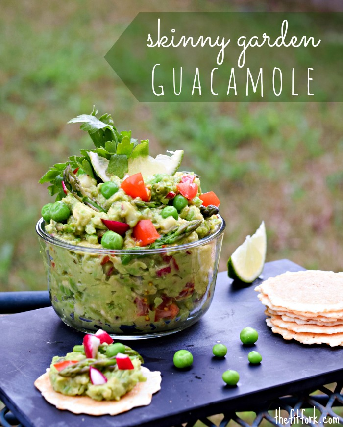 Skinny Garden Guacamole swaps ihalf of avocado for pureed peas and asparagus for all the yum and less the fat and calories.