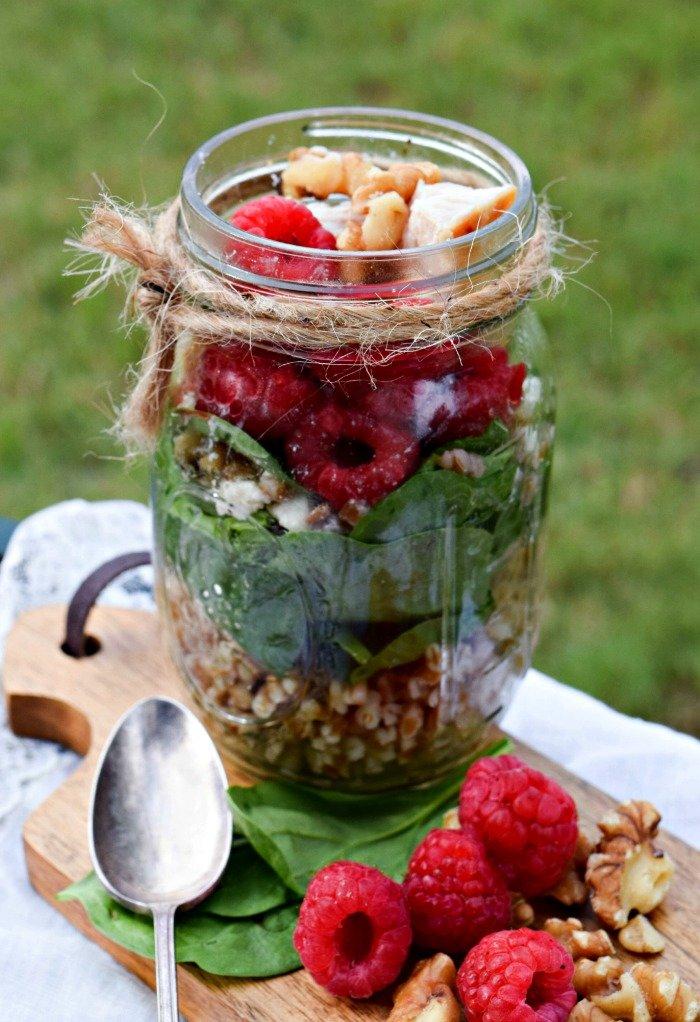Raspberry Walnut Wheat Berry Salad with Grilled Chicken