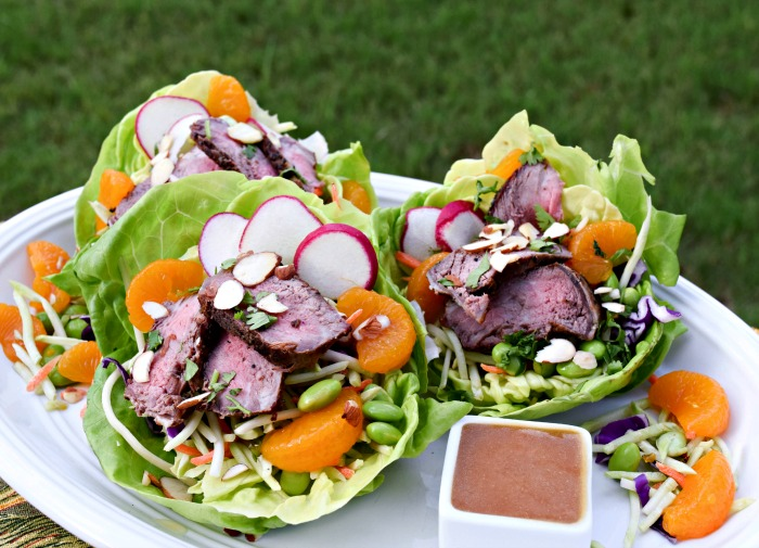 Adding grilled strip steak to my Orange Miso Lettuce Wraps ups the protein to 25 grams -- perfect for the #proteinchallenge!