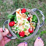 Raspberry Walnut Wheatberry Salad with Grilled Chicken so delicious, nutritious and easy on a summer day!