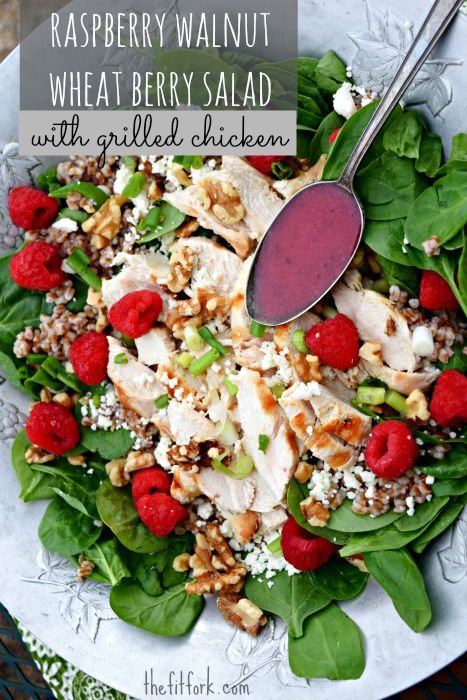 Raspberry Walnut Wheatberry Salad with Grilled Chicken is a quick and easy summer meal but is also beautiful enough for outdoor entertaining.
