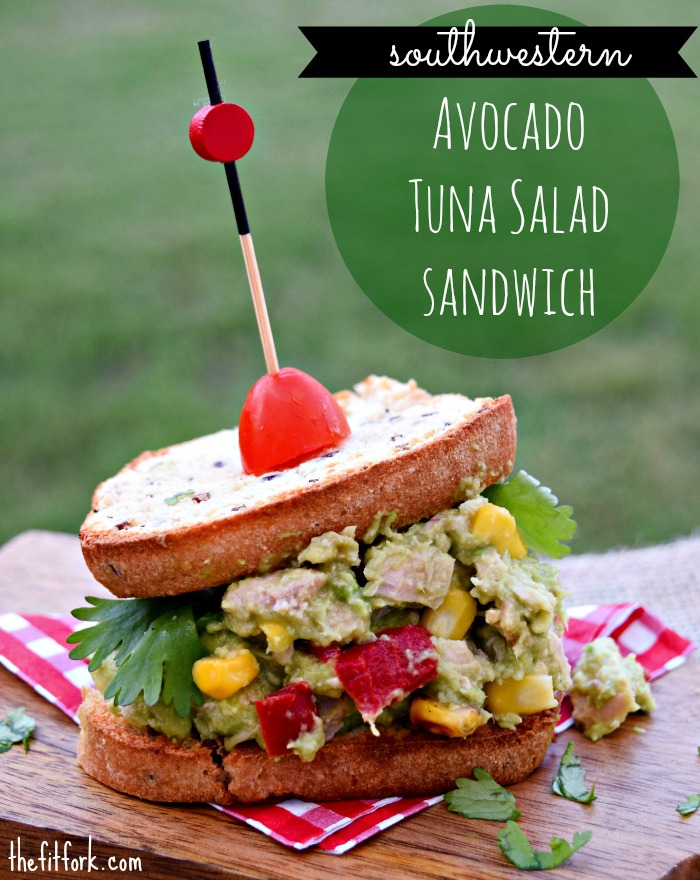 Southwestern Avocado Tuna Salad Sandwich kicks up lunch with flavor, protein and heart healthy fats.