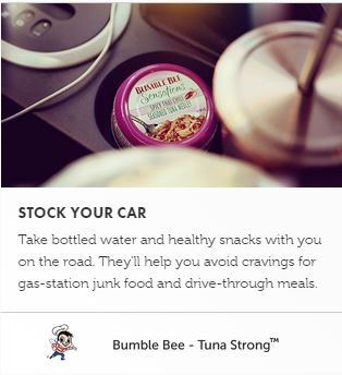 On the go Bumble Bee Tuna snack pack for travel.
