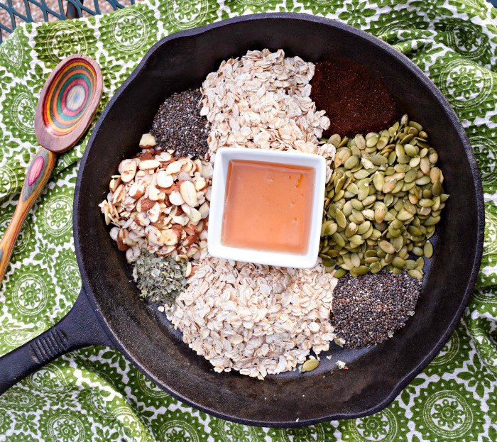 Ancho Chile Honey Skillet Granola ingredients