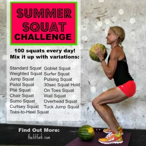Summer Squat Challenge -- Do 100 squats per day from this mix an match list!