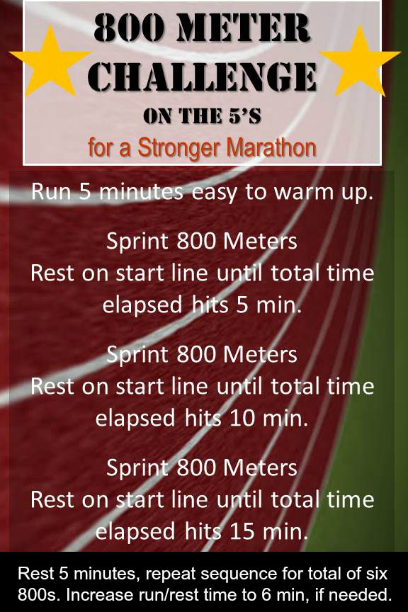 Try this 800 meter workout challenge to improve your speed and endurance for a maratho.