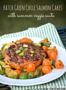 Hatch Green Chile Salmon Cakes with Summer Veggie Saute