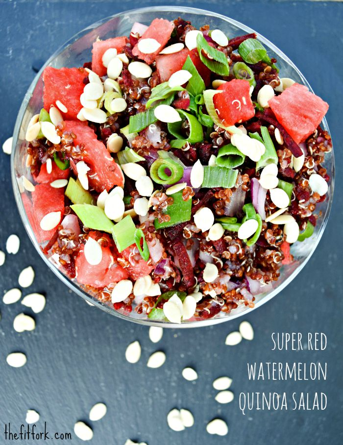 """Super Red"" Watermelon Quinoa Salad with Sprouted Watermelon Seeds  is perfect for outdoor summer entertaining and packs well in lunch boxes"