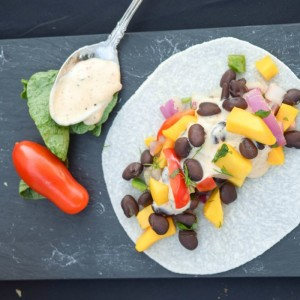 Black Bean and Mango Relish Jicama Wrap makes a sweet and spicy vegetarian meal -- no cooking!