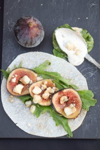 Fig, Blue Cheese and Arugula Jicama Wraps