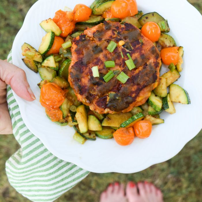 Hatch Salmon Patties with Zucchini and Tomatoes makes a southwestern-inspired summer dinner.