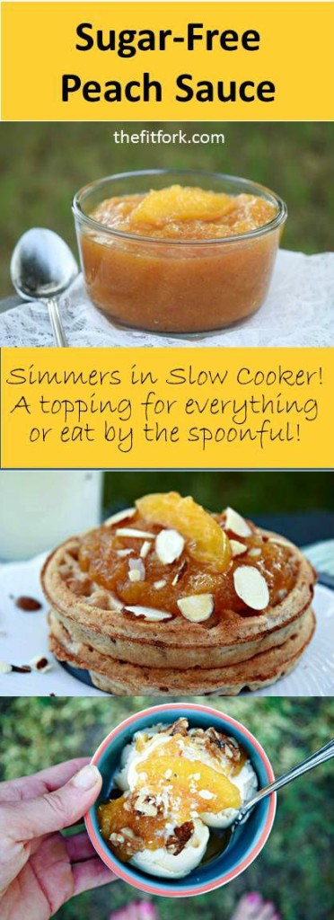 Sugar Free Peach Sauce simmers all day in a slow cooker and makes a packable lunchbox side dish or healthy topping for pancakes, ice cream and more.