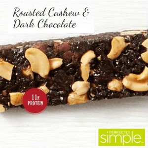 Roasted Cashew & Dark Chocolate protein bar from Perfectly Simple