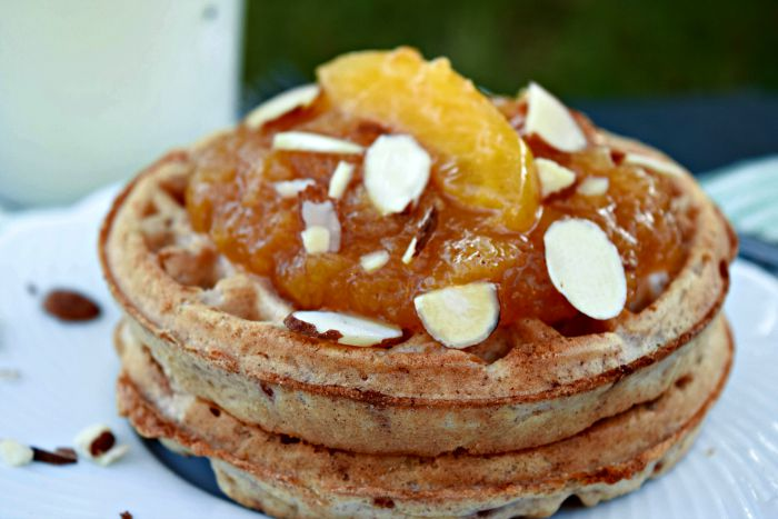Sugar Free Peach Sauce on Waffles