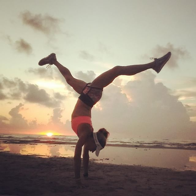 Sunrise yoga handstand fueled by BETTER FOOD!