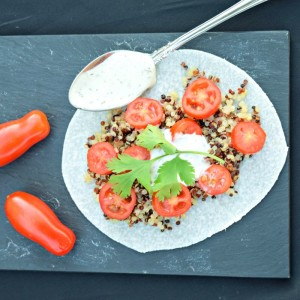 Quinoa, Tomato and Ranch Jicama Wrap makes a quick and easy summer lunch -- no cooking!