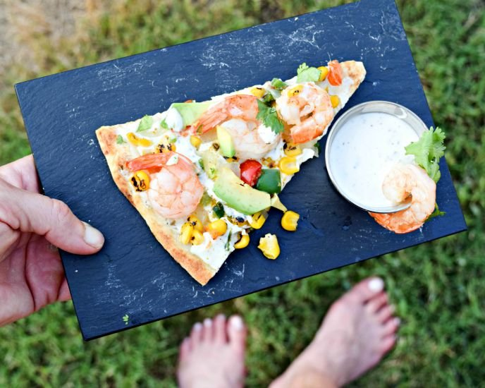 CalCornia Shrimp Pizza makes a speedy mead for busy weeknights - grill or make in the oven.