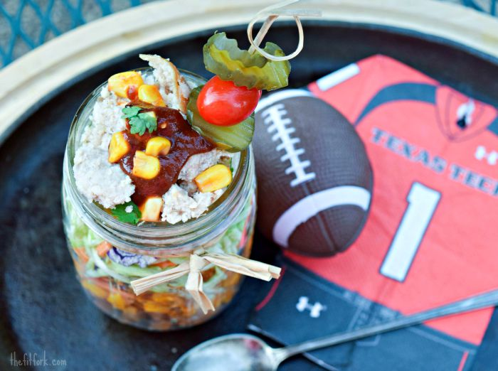 Complete Barbecue Chicken in a Jar, perfect for tailgaing and outdoor parties.