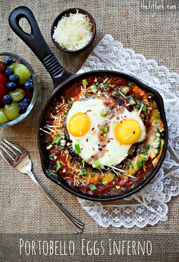 Portobello Eggs Inferno makes a quick and easy breakfast, lunch or dinner!