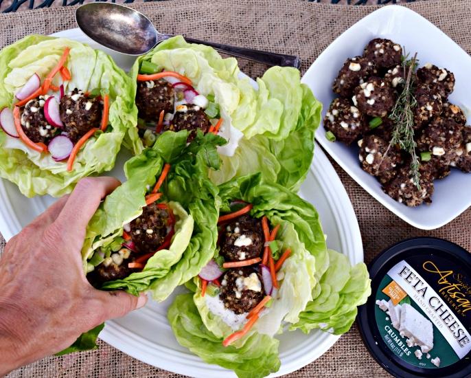 Beef Quinoa Meatball Lettuce Wraps