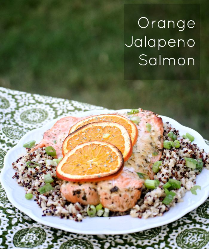 Orange Jalapeno Salmon makes a quick and healthy weeknight meal. Served on a bed of brown rice mixed with quinoa.