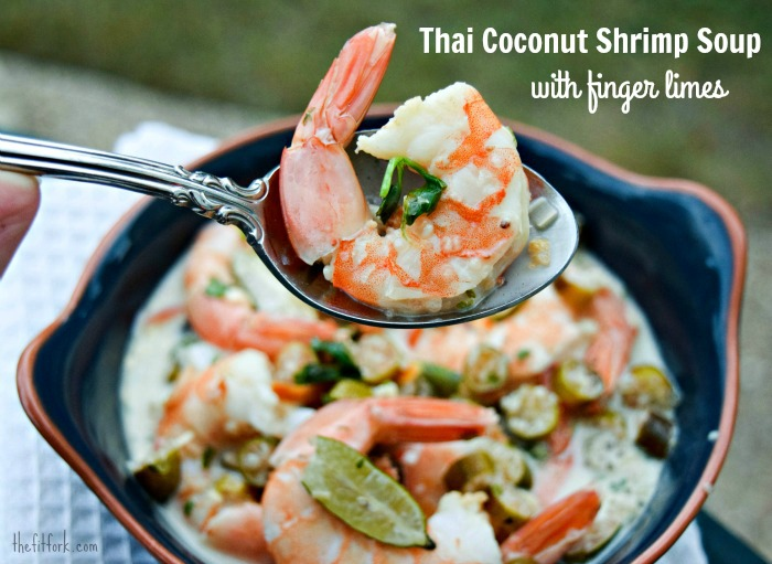 Finger Lime Coconut Shrimp Soup made in the style of Tom Kha Gai