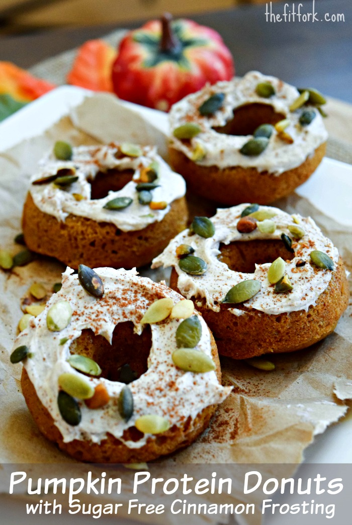 Sugar Free Pumpkin Protein Donuts with Cinnamon Frosting