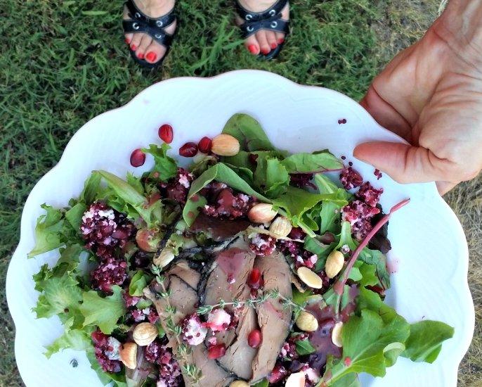 Blue Cheese Pomegranate and Quinoa Caviar on Steak Salad