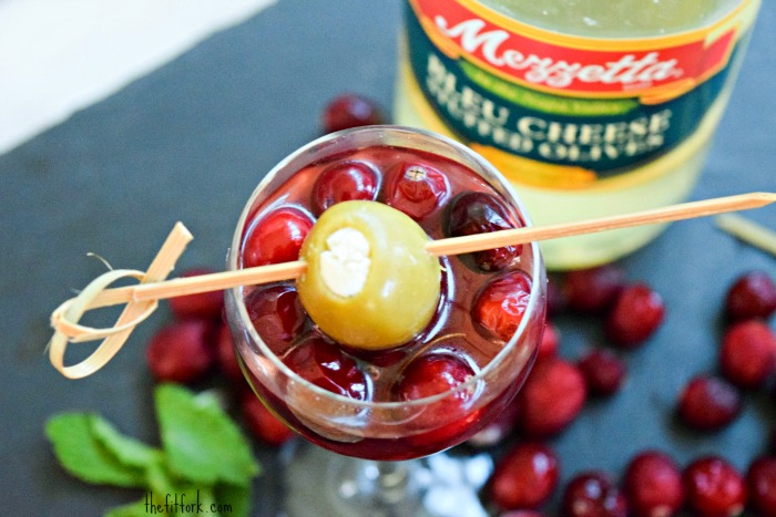 Cranberry Martini with Mezzetta Olive