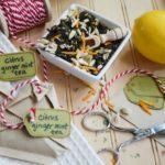 DIY Citrus Ginger Mint Tea Bags with Honey Crystals