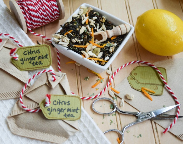 DIY Citrus Ginger Mint Tea Bags
