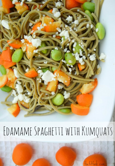 Edamame Spaghetti with Kumquats and Feta, a higher protein and gluten-free option for dinner!