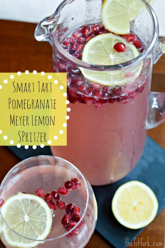 Smart Tart Pomegranate Meyer Lemon Spritzer makes a healthy cocktail for New Years Eve or other celebrations.