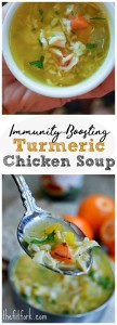 Immunity Boosting Turmeric Chicken Soup takes away the chills and provides nutrients you need to start feeling better