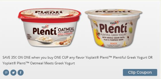 Coupon for Plenti Greek Yogurt Meets Oatmeal