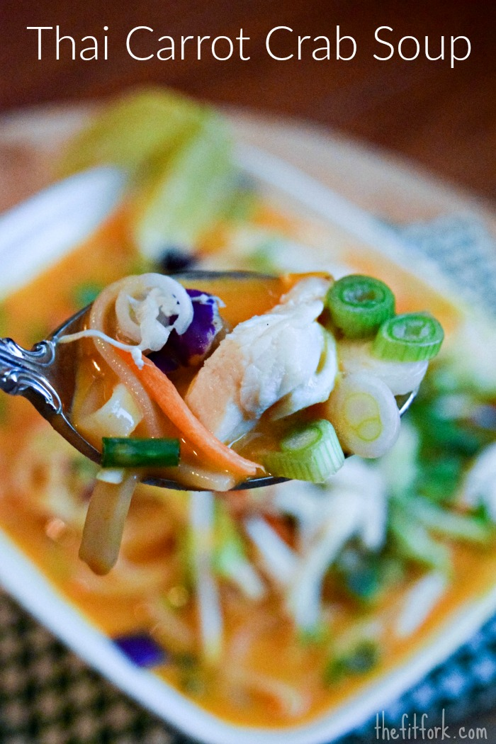 Thai Carrot Crab Noodle Soup is a powerhouse of nutrition -- feel free to swap out the protein for chicken or shrimp , if needed.