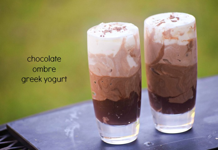 Ombre Chocolate Greek Yogurt Shooters sweetened with Stevia