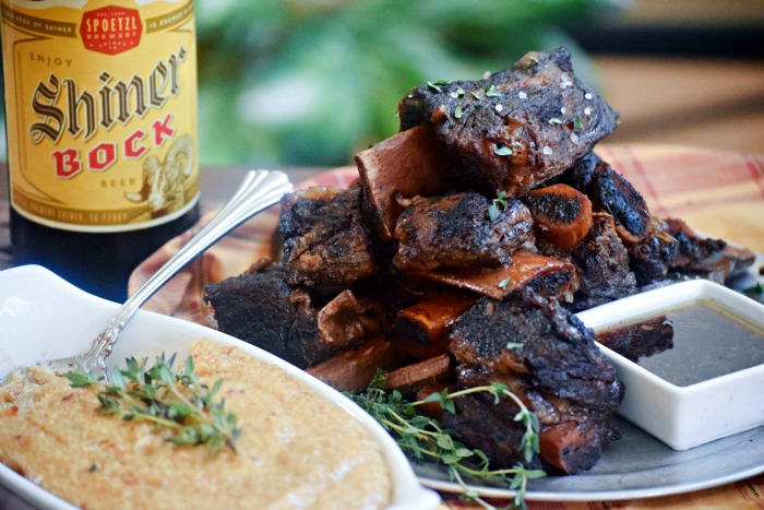 Shiner Bock Beer Beef Short Ribs can be made ahead in the slow cooler -- and then the grits only take 10 minutes make.