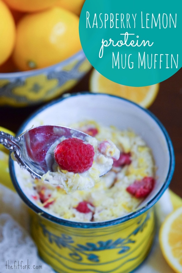 A Raspberry Lemon Protein Mug Muffin is a quick and easy solution to breakfast in the morning - or as a healthy, single-serve dessert before bed!
