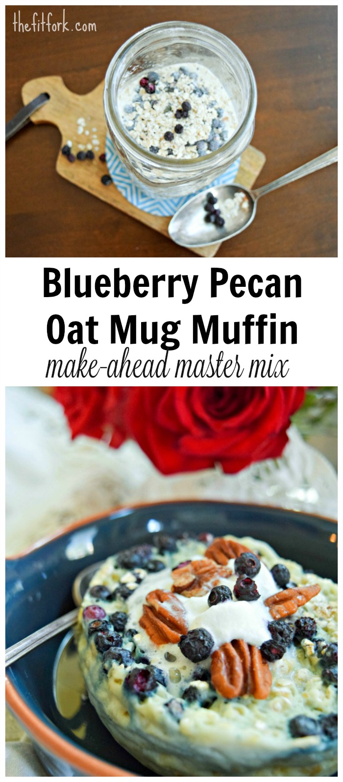 Blueberry Pecan Oat Protein Mug Muffin -- food prep the master mix and have breakfast read in less than 2 minutes.