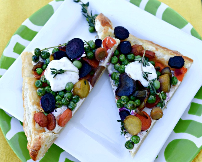 Colorful Carrot and Pea Tart makes a light lunch or showy addition to your spring brunch.