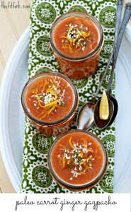 Lemony Carrot Ginger Gazpacho is perfect for light lunches, Easter brunches and as a prelude to your spring entree. Paleo, sugar free, raw, vegan and vegetarian friendly.