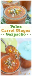Paleo Carrot Ginger Gazpacho -  Paleo, vegan, vegetarian, raw, sugar-free, gluten-free and more. Also, if you're a meal-prepper, this soup that doesn't' need to be reheated makes a nice alternative to the standard make-ahead fare for grab-and-go healthy lunches and quick dinners