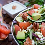 Cucumber Grapefruit Feta Salad with Avocado Cilantro Dressing